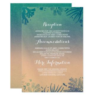 Ombre beach underwater teal wedding details card