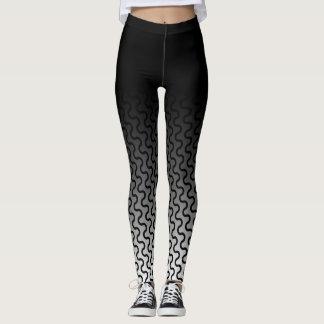 Ombre & Black & White Waves Retro Pattern 2 Leggings