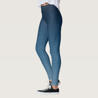 Ombre Blue Fake Denim Pattern and Black Polka Dots Leggings