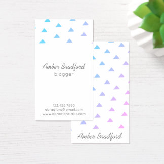Ombre Blue Purple Triangles Geo Business Cards