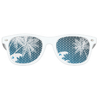 OMBRÉ BLUE TROPICAL PALMS RETRO SUNGLASSES