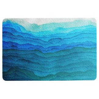 ombre blue waves bathroom mat