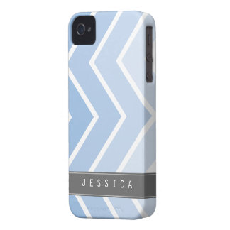 Ombre Blue Zig Zag Chevrons Pattern iPhone 4 Cover