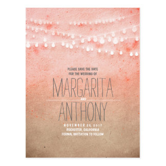 Ombre blush pink elegant save the date postcards