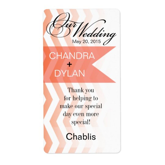 Ombre Chevron Style! coral Wine Label Shipping Label