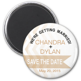 Ombre Chevron Style! Save the Date blush 2 Inch Round Magnet