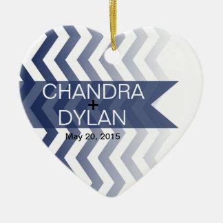 Ombre Chevron Style! Wedding navy Ceramic Ornament