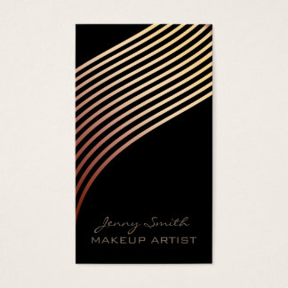 Ombre chic rose gold wavy stripesmodern luxury business card
