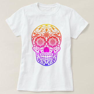 Ombre Colorful Candy Sugar Skull Shirt
