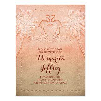 Ombre cute flamingo beach save the date postcards