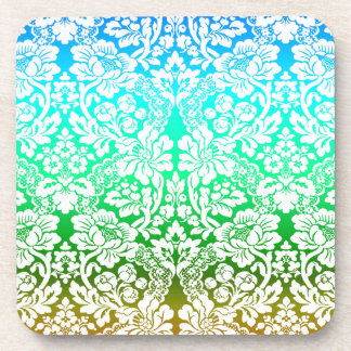Ombre Floral Lace Pattern Blue Green Gold Beverage Coasters