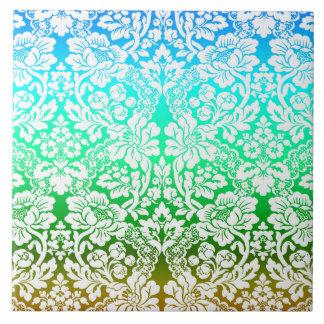 Ombre Floral Lace Pattern Blue Green Gold Ceramic Tile
