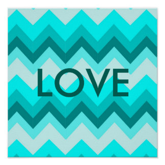 Ombre Girly Pattern Teal Turquoise Chevron Poster