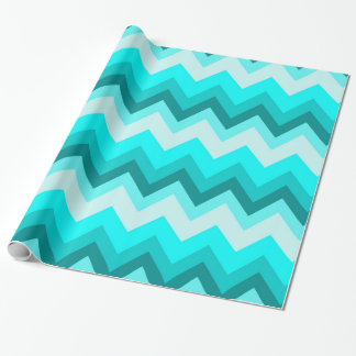 Ombre Girly Pattern Teal Turquoise Chevron Wrapping Paper