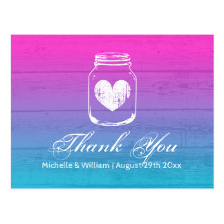 Ombre gradient wood grain mason jar thank you card
