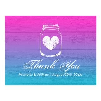 Ombre gradient wood grain mason jar thank you card