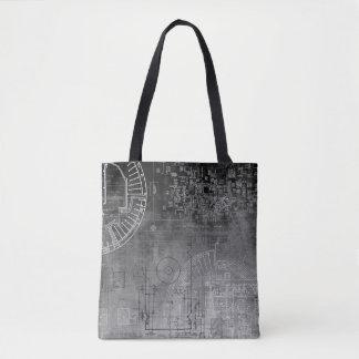 Ombre Gray to Black circuit board nerd geek Tote Bag