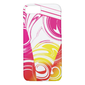 Ombre Hot Pink Red Yellow Marble Pattern iPhone 8/7 Case