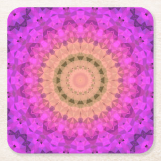 Ombre Kaleidoscope 2 Square Paper Coaster
