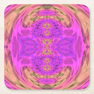 Ombre Kaleidoscope 3 Square Paper Coaster