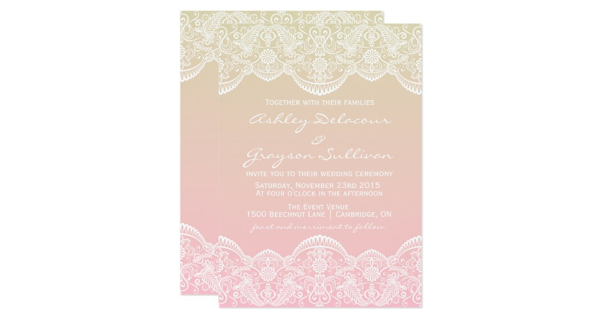 Ombre Wedding Invitation: Ombre Lace Pattern Sunset Wedding Invitation