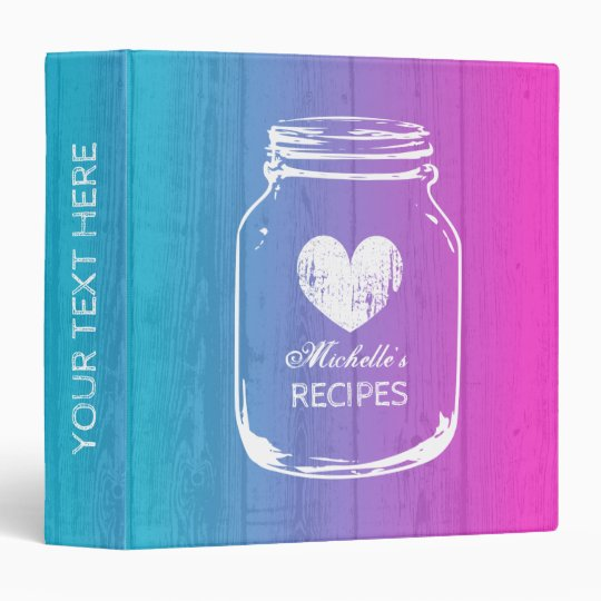 Ombre mason jar wood grain recipe binder book
