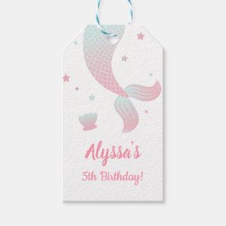 Ombre Mermaid Tail Girls Birthday Party Gift Tags