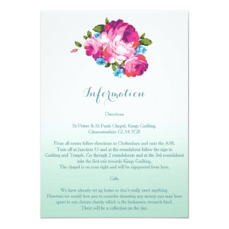 Ombre Mint Floral Wedding Information Cards