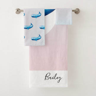 Ombre Ocean Conservation Whale & Typography Bath Towel Set