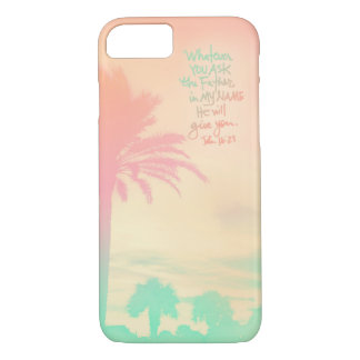Ombre Palm Sunset John 16:23 iPhone 7 Case