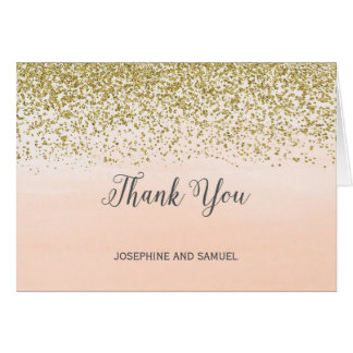Ombre Peach and Gold Thank You Card