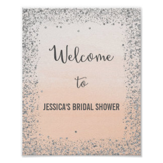 Ombre Peach and Silver Welcome Poster Print