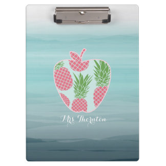 Ombre Pineapple Print Apple Personalized Teacher Clipboard