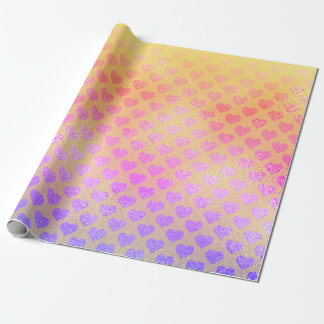 Ombre Rainbow Glitter Metallic Pink Yellow Hearts Wrapping Paper