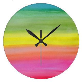 Ombre Rainbow Watercolor Print Clock