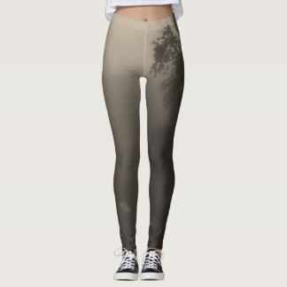 Ombre sepia tree in the mist leggings