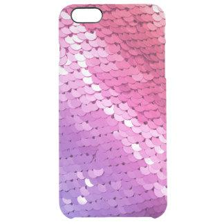 Ombre Sequin Pink Purple Coral Glitter Glam Glitz Clear iPhone 6 Plus Case