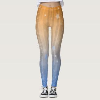 Ombre Sparkle Star & Pin Stripe Leggings