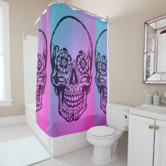 ombre sugar skull shower curtain