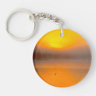 Ombre Sunrise Shining on Two Ducks Nature Photo - Acrylic Key Chains