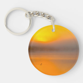 Ombre Sunrise Shining on Two Ducks Nature Photo - Double-Sided Round Acrylic Keychain