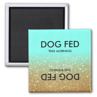 Ombre Teal & Gold Glitter Feed Dog Magnet Reminder