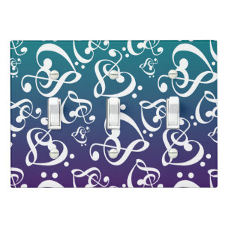 Ombre Teal Purple Clef Hearts Music Notes Pattern Light Switch Cover