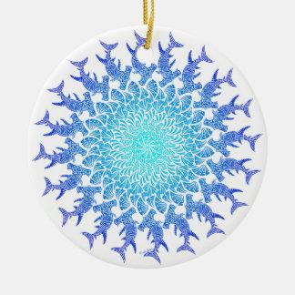 Ombre Tribal Hammerhead Mandala Ceramic Ornament