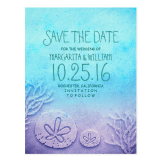 Ombre turquoise blue beach save the date postcards