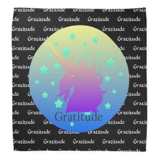 Ombre unicorn with word gratitude bandana