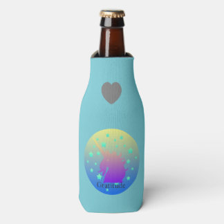 """""""Ombre unicorn with word gratitude"""" Bottle Cooler"""