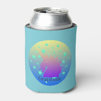 """""""Ombre unicorn with word gratitude"""" Can Cooler. Can Cooler"""