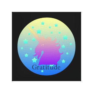 Ombre unicorn with word gratitude canvas print
