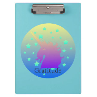 Ombre unicorn with word gratitude clipboard